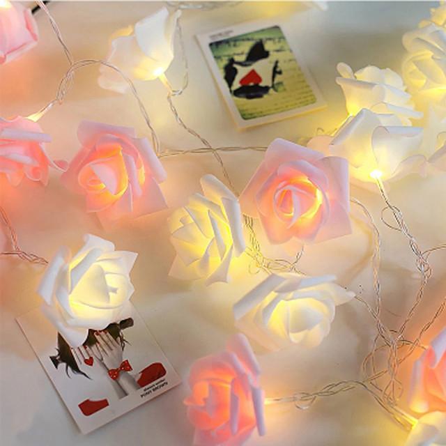 1M 10LED Garland Artificial Flower Bouquet String Lights Foam Rose Fairy Lights For Valentine's Day Wedding Decoration