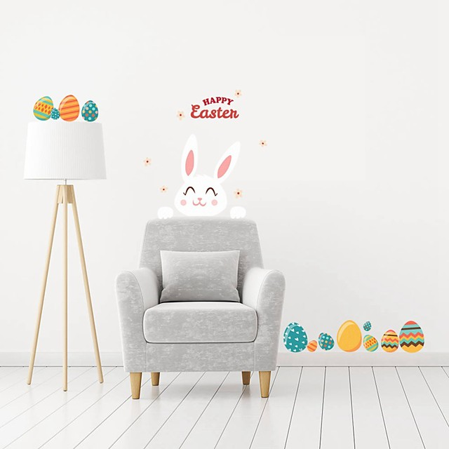 happy eastern Holiday Wall Stickers Plane Wall Stickers Decorative Wall Stickers PVC Home Decoration Wall / Window Decoration 1pc