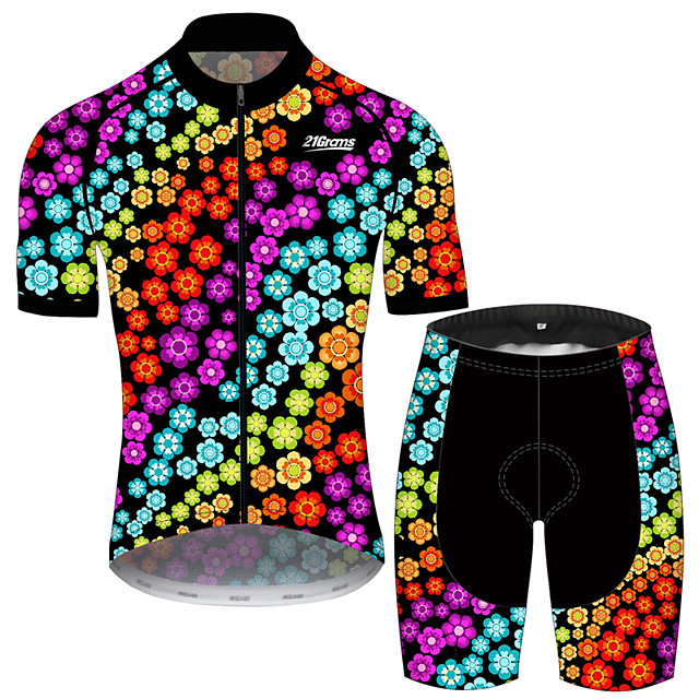 21Grams Men's Short Sleeve Cycling Jersey with Shorts Black / Red Floral Botanical Bike Clothing Suit UV Resistant Breathable 3D Pad Quick Dry Sweat-wicking Sports Geometric Mountain Bike MTB Road