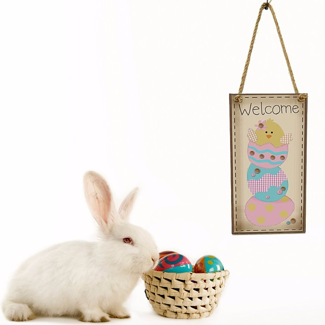 1pc Happy Easter bunny egg decoration object home living door hangable20*10*0.5 cm