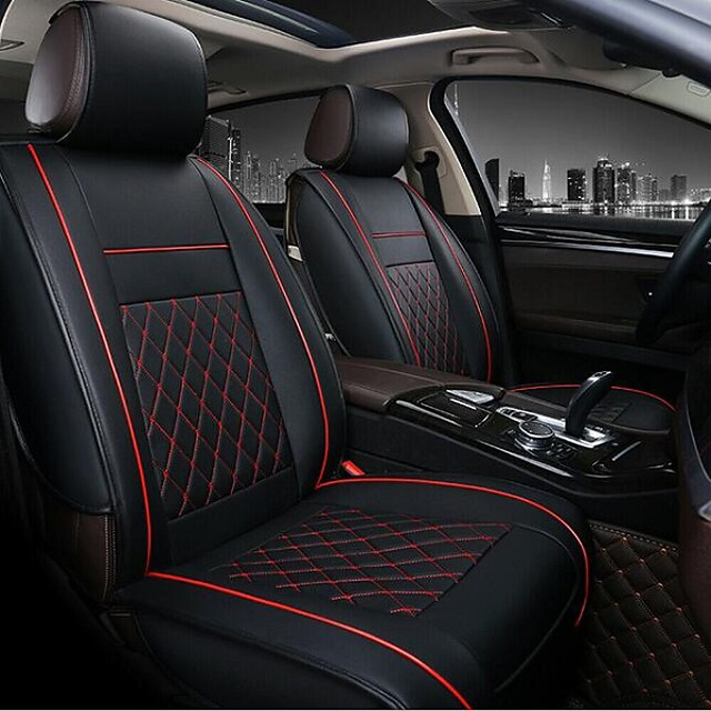 2pcs Black / Red / Beige / Coffee PU Leather Breathable Business Style Non-slip Rhombus stripes Comfortable Car Seat Covers For universal