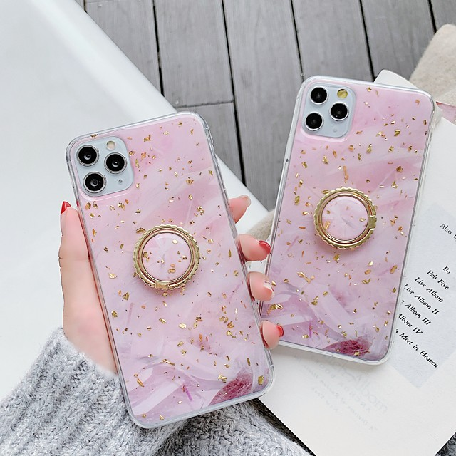 Case For Apple iPhone 11 / iPhone 11 Pro / iPhone 11 Pro Max Shockproof / Ring Holder / Pattern Back Cover Solid Colored / Marble TPU