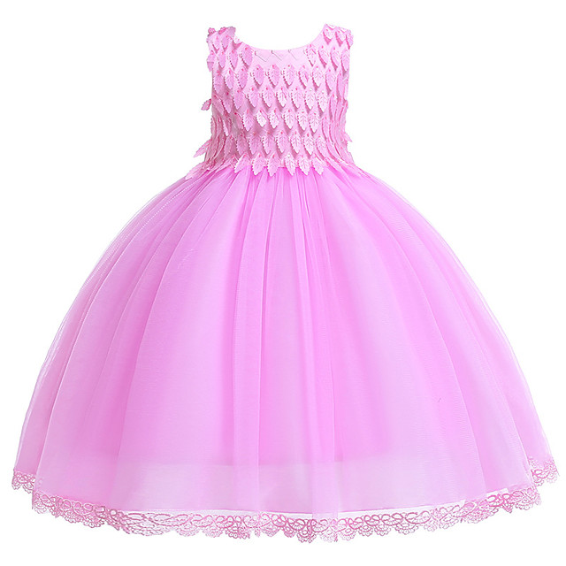 Princess Dress Flower Girl Dress Girls' Movie Cosplay A-Line Slip Cosplay Red / Pink Dress Halloween Carnival Masquerade Tulle Polyester
