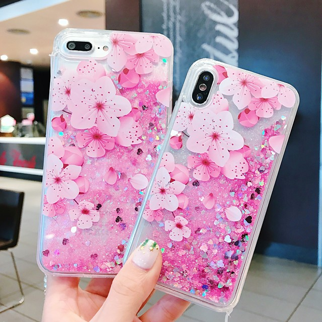 Case For Apple iPhone 11 / iPhone 11 Pro / iPhone 11 Pro Max Shockproof / Flowing Liquid / Pattern Back Cover Glitter Shine / Flower PC