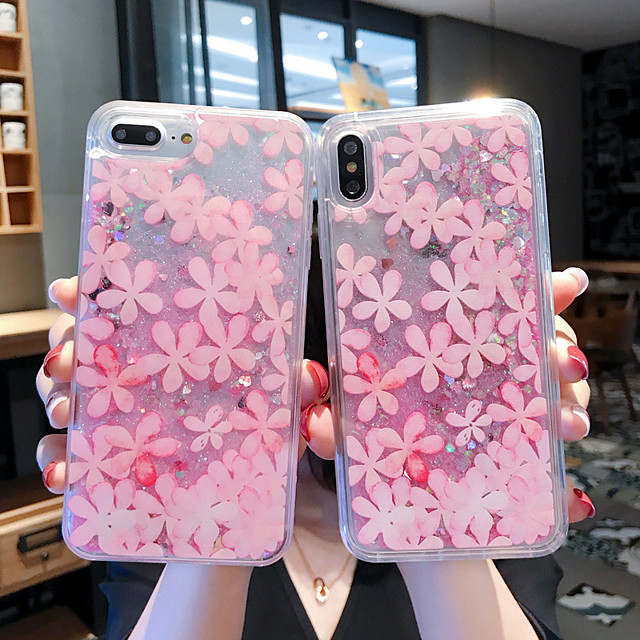 Case For Apple iPhone 11 / iPhone 11 Pro / iPhone 11 Pro Max Shockproof / Flowing Liquid / Pattern Back Cover Transparent / Glitter Shine / Flower PC