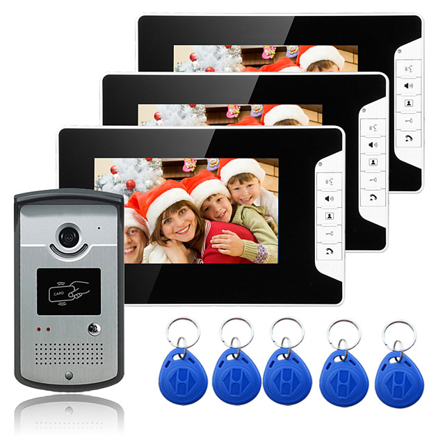 Wired 7 Inch Hands-free 800*480 Pixel One To Three Video Doorphone