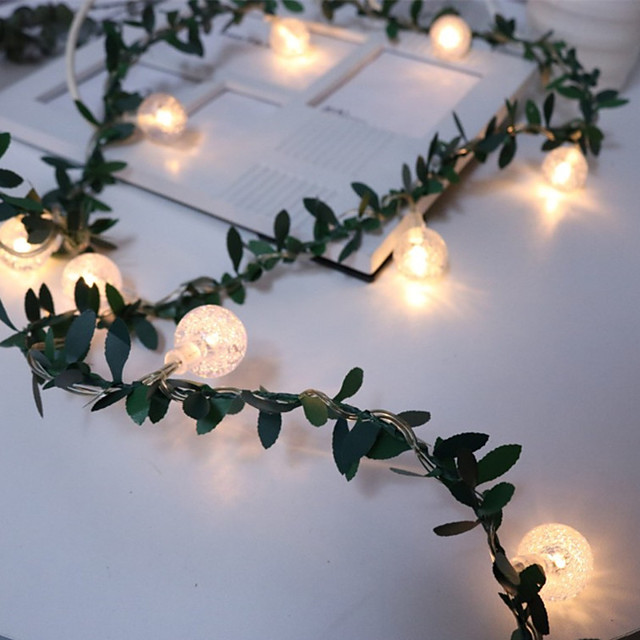 Artificial Green Leaf Rattan Flower Vine Bubble Beads LED String Light Wire Green Rattan String Light Decoration