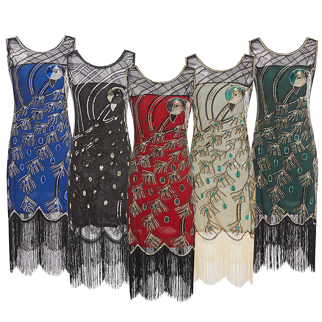 The Great Gatsby Vintage 1920s Flapper Dress Dress Party Costume Women's Sequin Costume Black / Green / Red Vintage Cosplay Party Sleeveless