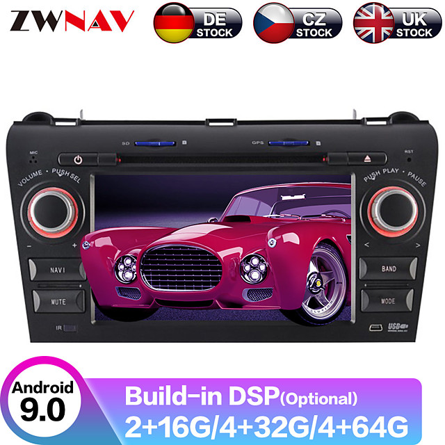 ZWNAV 7inch 2din 4GB 64GB Android 9.0 Car GPS Navigation Car DVD Player Car multimedia player stereo HD radio tape recorder For Mazda 3 2003-2009
