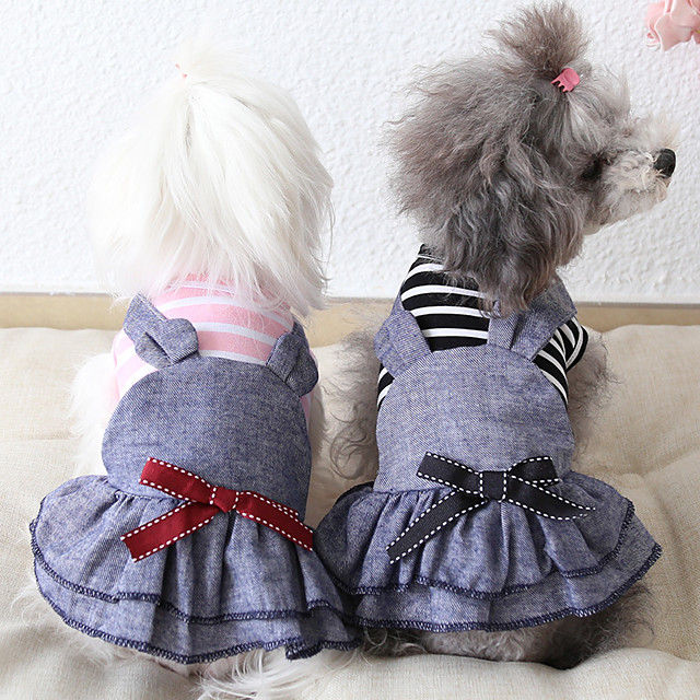 Dog Costume Dress Dog Clothes Breathable Pink Blue Costume Beagle Bichon Frise Chihuahua Jeans Stripes Bowknot Casual / Sporty Cute XS S M L XL