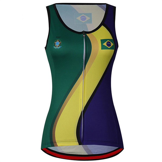 21Grams Women's Sleeveless Cycling Jersey Cycling Vest Blue+Green Brazil National Flag Bike Jersey Top Mountain Bike MTB Road Bike Cycling UV Resistant Breathable Quick Dry Sports Clothing Apparel