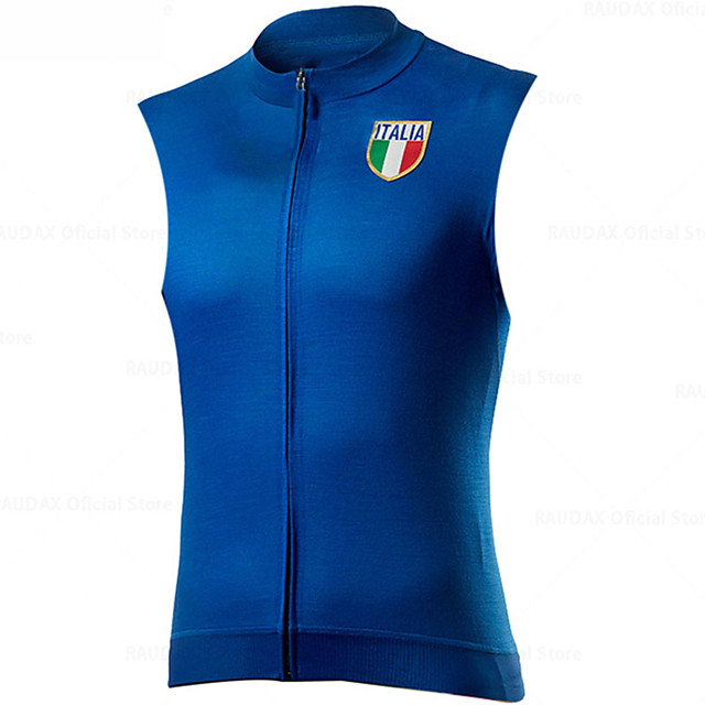 21Grams Men's Women's Sleeveless Cycling Jersey Cycling Vest Spandex Polyester Blue Black Italy National Flag Bike Jersey Top Mountain Bike MTB Road Bike Cycling UV Resistant Breathable Quick Dry