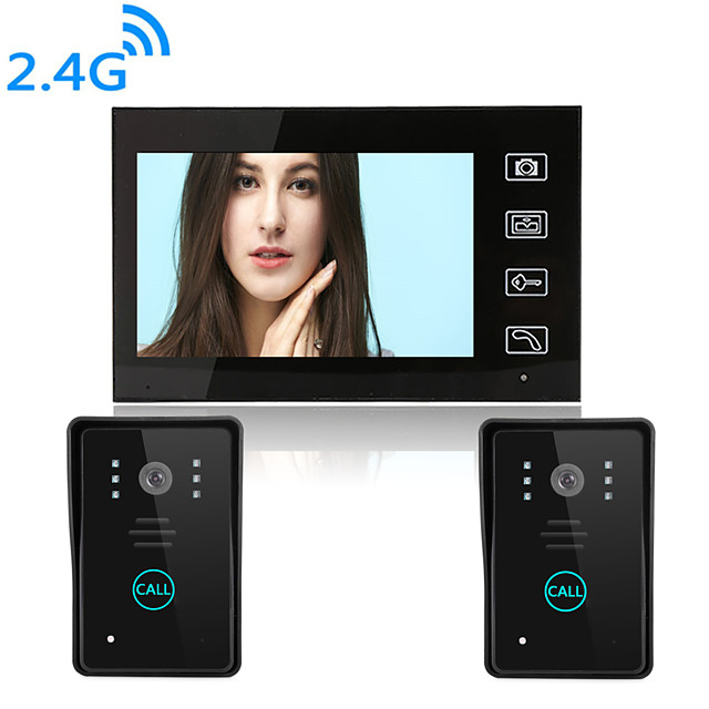 Wireless 2.4GHz 7 inch Hands-free 800*480 Pixel One to One video doorphone