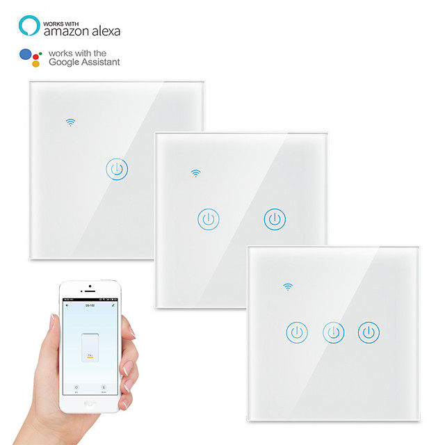 Tuya Smart Wifi Switch EU 220V 1 2 3 Gang Touch Panel Switches Wireless Remote Control Compatible Alexa Google Home
