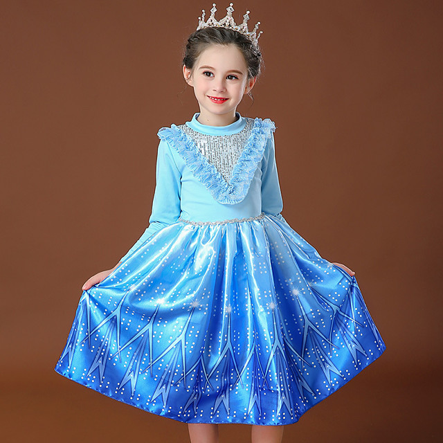 Princess Elsa Dress Flower Girl Dress Girls' Movie Cosplay Cosplay Costume Party Pink / Blue Dress Sequin Polyster