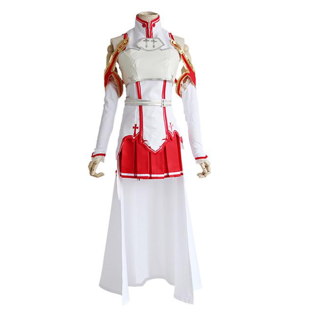 Inspired by SAO Swords Art Online Asuna Yuuki Anime Cosplay Costumes Japanese Cosplay Suits Top Skirt Sleeves For Women's / Belt / Socks / Breastplate