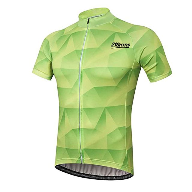 21Grams Men's Short Sleeve Cycling Jersey Mint Green Plaid / Checkered Bike Jersey Top Mountain Bike MTB Road Bike Cycling UV Resistant Breathable Quick Dry Sports Clothing Apparel / Stretchy