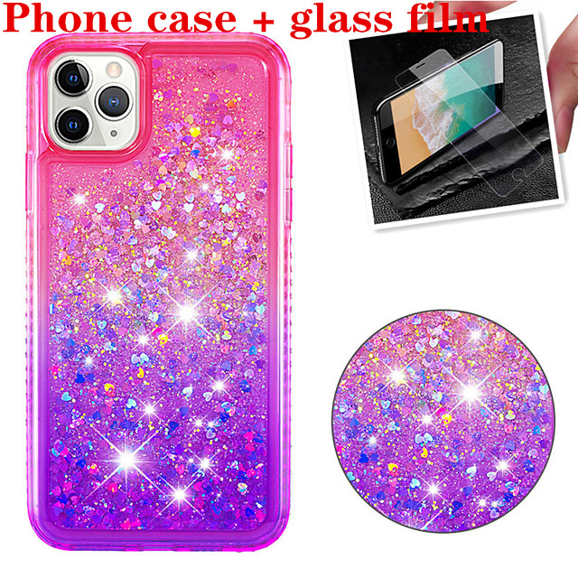 Case For Apple iPhone 11 / iPhone 11 Pro / iPhone 11 Pro Max Shockproof / Flowing Liquid / Glitter Shine Back Cover Solid Colored TPU