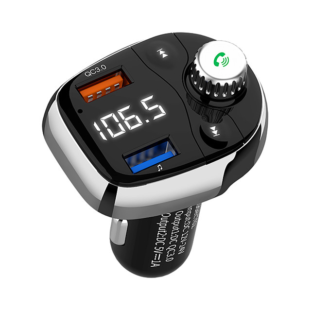 T62 Bluetooth Car Audio Adapter FM Transmitter with Double Car Charger Wireless Car Kit for Car Stereo System Music Player Support Three Music Play Mode Radio Work with Any Smart Mobile Phones