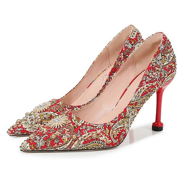 Women's Wedding Shoes Stiletto Heel Pointed Toe Rhinestone Canvas Spring & Summer Red