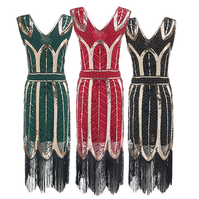 The Great Gatsby Vintage 1920s Flapper Dress Dress Party Costume Women's Sequin Costume Golden / Silver / Green Vintage Cosplay Party Sleeveless