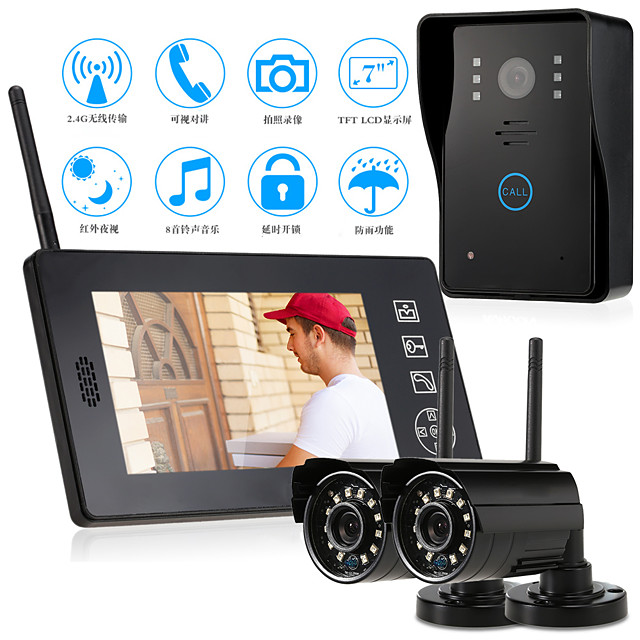 Wireless 2.4GHz 7 inch Hands-free 800*480 Pixel One to One video doorphone