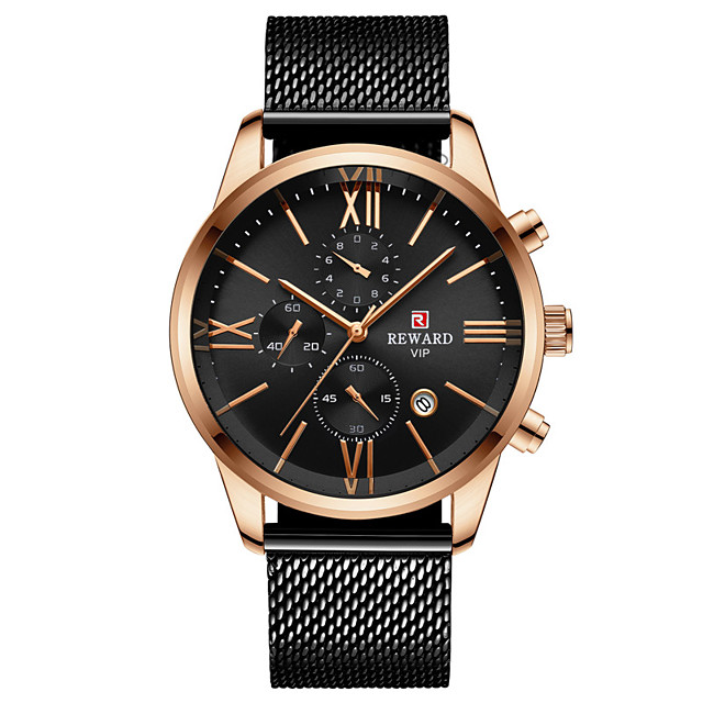 Men's Sport Watch Quartz Stainless Steel 30 m Water Resistant / Waterproof Calendar / date / day Chronograph Analog Fashion Cool - Black+Gloden Gold Blue One Year Battery Life