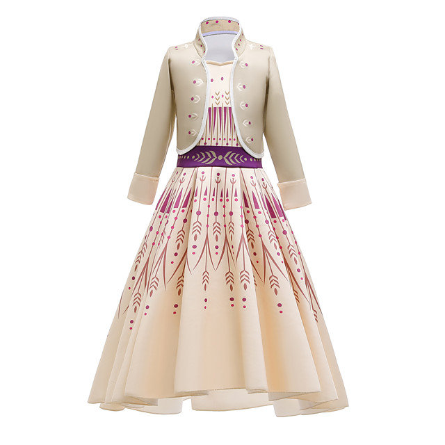 Princess Anna Dress Flower Girl Dress Girls' Movie Cosplay Cosplay Costume Party Purple (With Accessories) / Beige Coat Dress Polyster