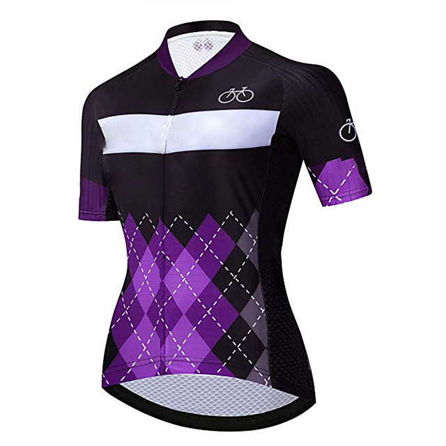 21Grams Women's Short Sleeve Cycling Jersey Purple Plaid / Checkered Bike Jersey Top Mountain Bike MTB Road Bike Cycling UV Resistant Breathable Quick Dry Sports Clothing Apparel / Stretchy