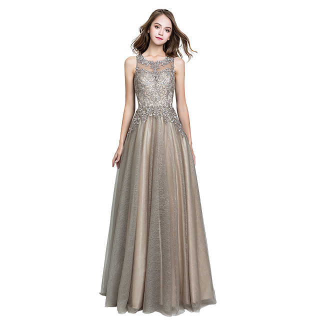 A-Line Luxurious Grey Prom Formal Evening Dress Jewel Neck Sleeveless Floor Length Tulle with Crystals Appliques 2020