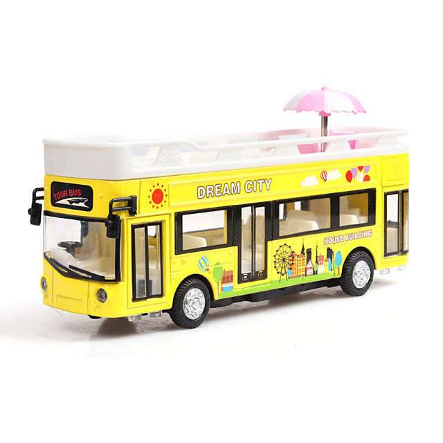 1:32 Toy Car Music Bus Creative Bus Creative Exquisite Parent-Child Interaction Zinc Alloy Rubber Mini Car Vehicles Toys for Party Favor or Kids Birthday Gift