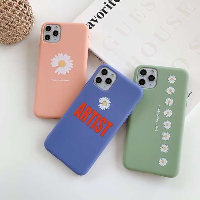 Case For Apple iPhone 11 / iPhone 11 Pro / iPhone 11 Pro Max Shockproof / Ultra-thin Back Cover Word / Phrase / Solid Colored / Flower TPU