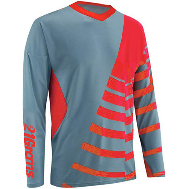 21Grams Men's Long Sleeve Cycling Jersey Downhill Jersey Dirt Bike Jersey Polyester Spandex Red Orange Green Stripes Bike Jersey Top Mountain Bike MTB Road Bike Cycling UV Resistant Breathable Quick