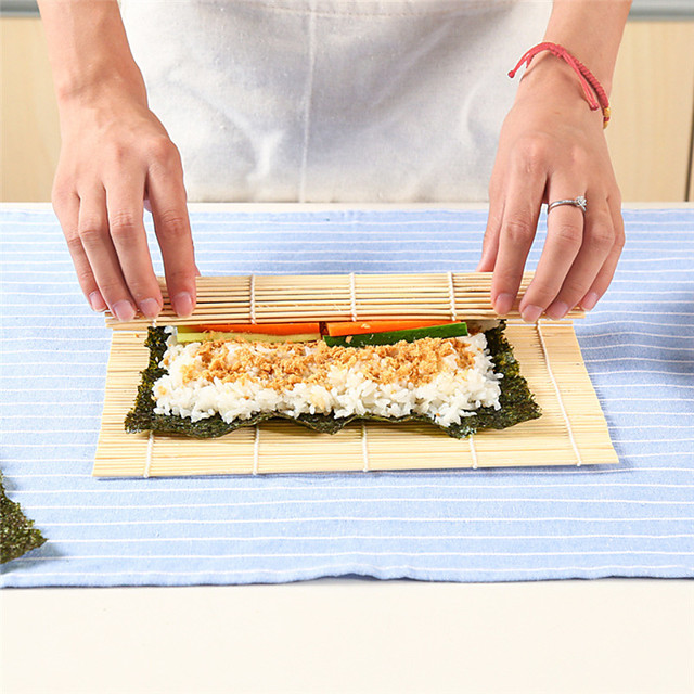 3pcs Bamboo for Roll Sushi Curtain Making Seaweed Rolls Rice Bowl Lunch Accessories Sushi Rocket Tube