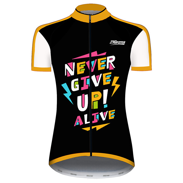 21Grams Women's Short Sleeve Cycling Jersey Black / Yellow Lightning Bike Jersey Top Mountain Bike MTB Road Bike Cycling UV Resistant Breathable Quick Dry Sports Clothing Apparel / Stretchy
