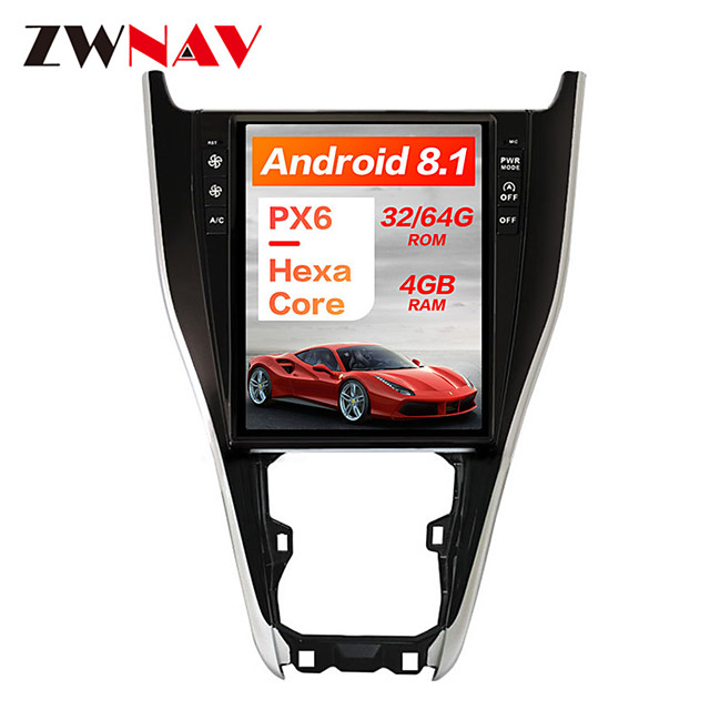 ZWNAV 12.1Inch 1DIN Android 8.1 PX6 Vertical screen Car GPS navigation Car multimedia player Auto Car MP5 Player radio tape recorder For TOYOTA Harrier 2013