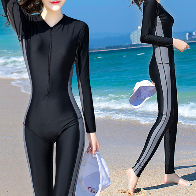 Women's Rash Guard Dive Skin Suit Bodysuit UV Sun Protection Quick Dry Full Body Front Zip - Swimming Diving Surfing Snorkeling Patchwork Autumn / Fall Spring Summer
