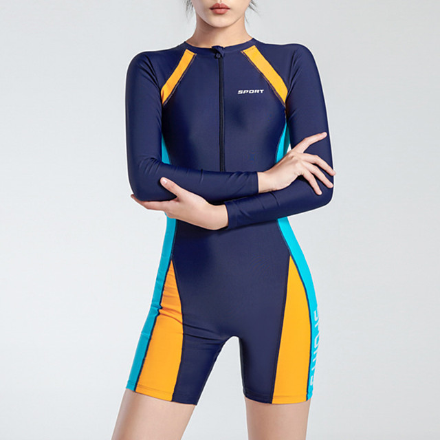 Women's Rash Guard Dive Skin Suit Bodysuit UV Sun Protection Breathable Short Sleeve Front Zip - Swimming Diving Water Sports Patchwork Autumn / Fall Spring Summer