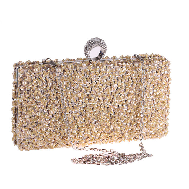 Women's Chain Polyester Evening Bag Solid Color Black / Champagne / Silver