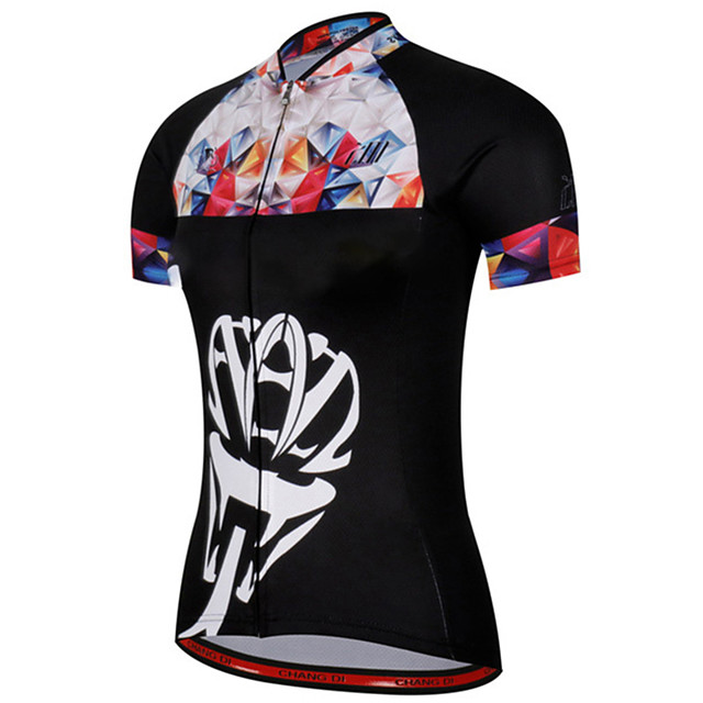 21Grams Women's Short Sleeve Cycling Jersey Black / White Plaid / Checkered Bike Jersey Top Mountain Bike MTB Road Bike Cycling UV Resistant Breathable Quick Dry Sports Clothing Apparel / Stretchy