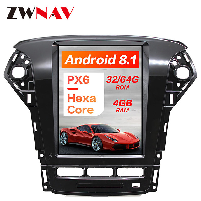 ZWNAV 10.4 inch 1 DIN PX6 4GB 64GB Tesla style Android 8.1 Car GPS Navigation Car multimedia Player In-Dash Car DVD Player For Ford Mondeo / Fusion MK4 2011-2013
