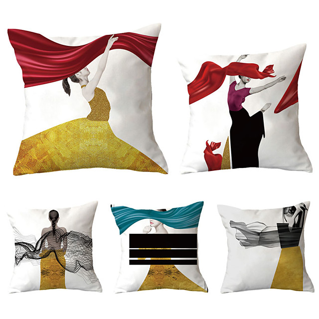 Set of 5 Throw Pillow Simple Classic 45*45 cm Cushion Vintage Circle Cover Sofa Home Decor Throw Pillow Case