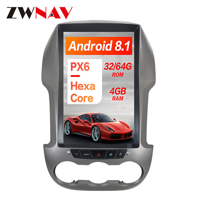 ZWNAV 12.1 inch 1Din PX6 4GB 64GB Tesla style Android 8.1 Car GPS Navigation Car multimedia player In-Dash Car DVD Player For Ford Ranger / Ford F250 2011