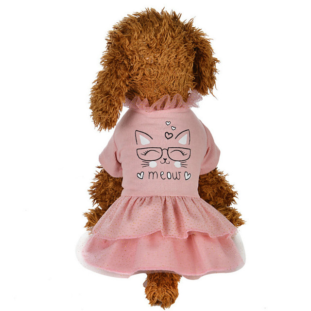 Dog Costume Dress Dog Clothes Breathable Pink Costume Beagle Bichon Frise Chihuahua Cotton Character Party Cute XS S M L XL