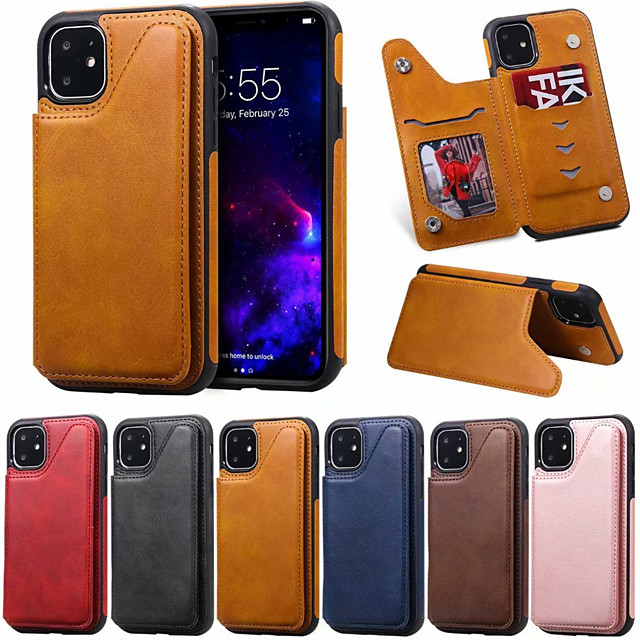 Case For Apple iPhone 11 / iPhone 11 Pro / iPhone 11 Pro Max Card Holder / Shockproof Back Cover Solid Colored PU Leather
