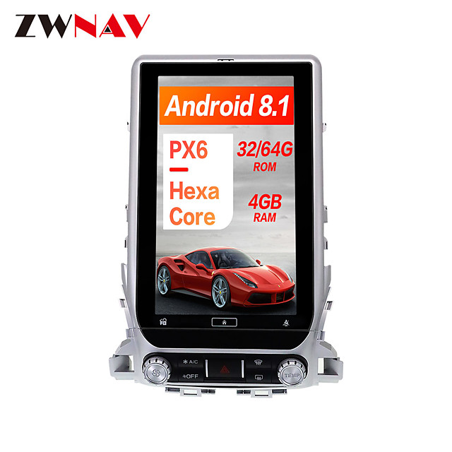 ZWNAV 13.6 Inch 1din Android 8.1 Car GPS Navigation Car Multimedia player radio tape recorder Car MP5 Player For TOYOTA LAND CRUISER LC200 2016-2019