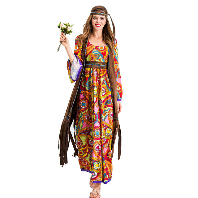 Hippie Diva Disco 1980s Dress Outfits Vest Headwear Women's Costume Yellow Vintage Cosplay Party Long Sleeve