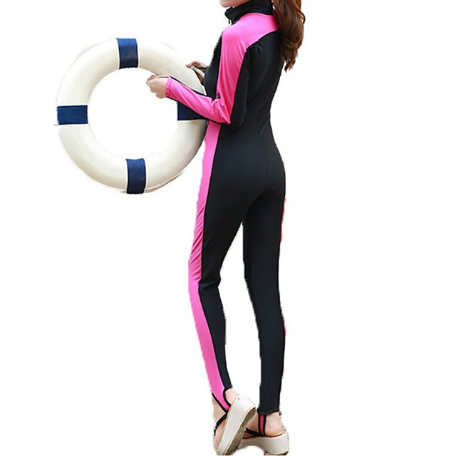 Women's Rash Guard Dive Skin Suit Top Bottoms UV Sun Protection Breathable Full Body 2-Piece Front Zip - Swimming Diving Water Sports Patchwork Spring Summer