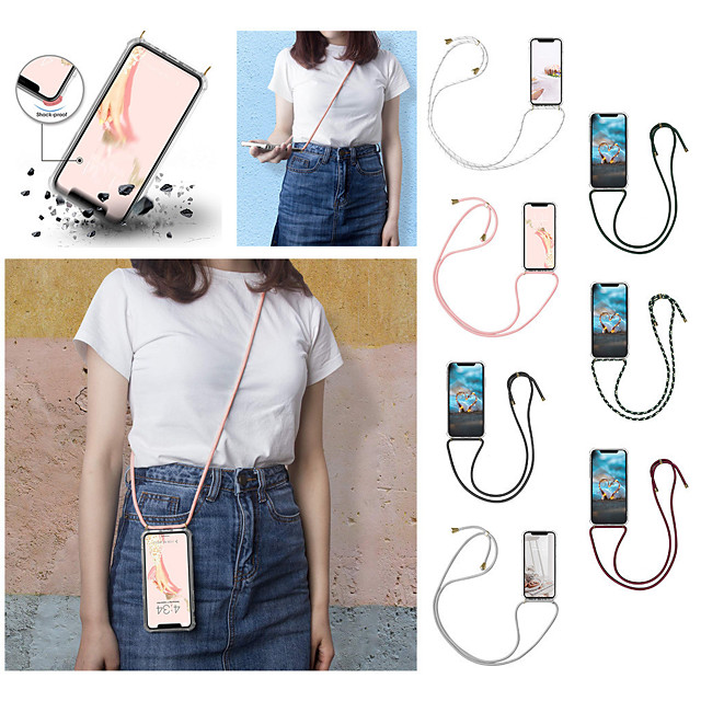 Case For Apple iPhone 11 / iPhone 11 Pro Max Lanyard Lanyard Transparent Back Cover Solid Colored TPU for iPhone 11 Pro XS Max XR XS 7 Plus 8 Plus  7