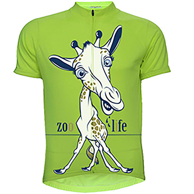 21Grams Men's Short Sleeve Cycling Jersey Red Green Animal Giraffe Bike Jersey Top Mountain Bike MTB Road Bike Cycling UV Resistant Breathable Quick Dry Sports Clothing Apparel / Stretchy / Race Fit
